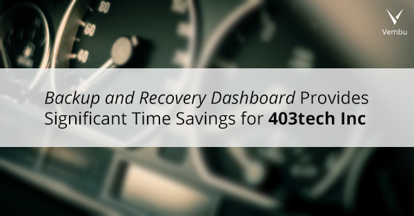 Backup and Recovery Dashboard