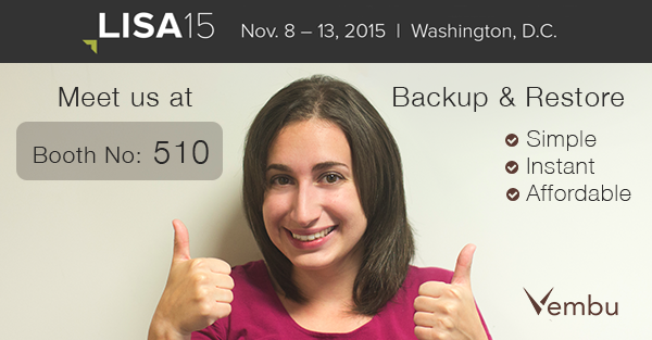 Vembu at LISA '15 | USENIX, Washington D.C.