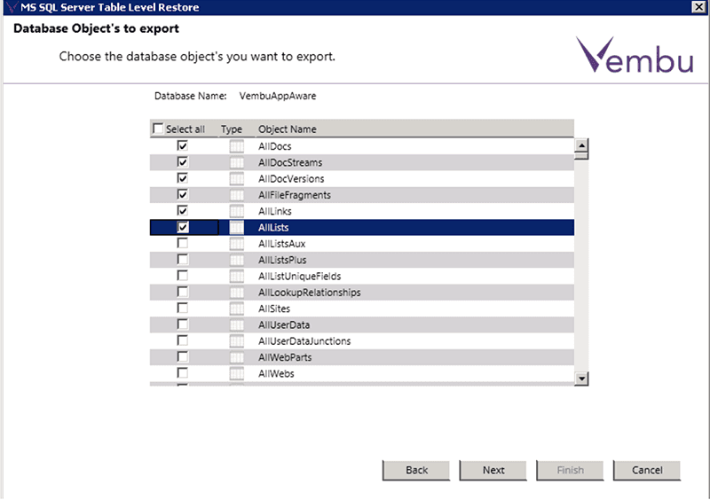 Choose the database object's that you want to export