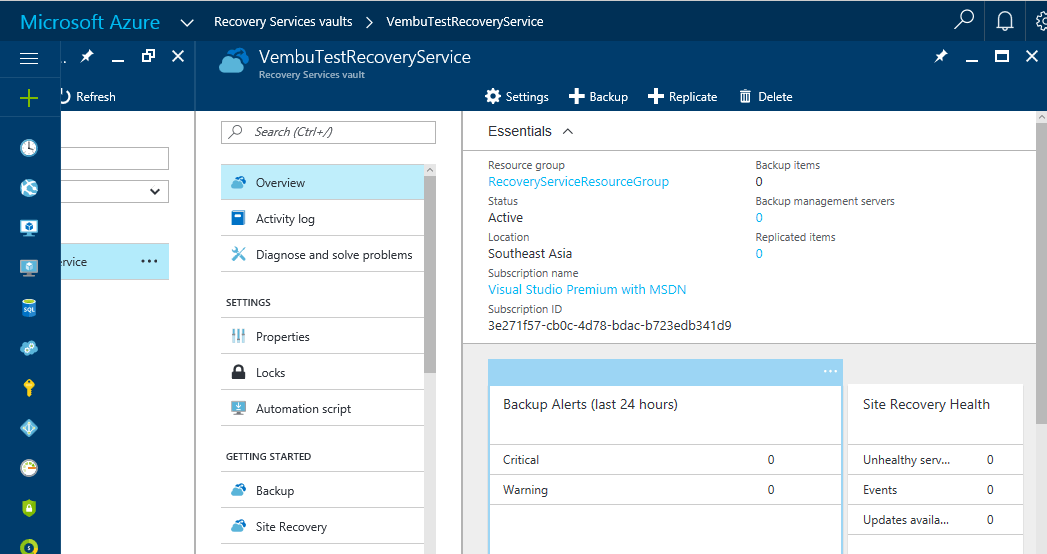 Backup using Microsoft Azure Recovery Service