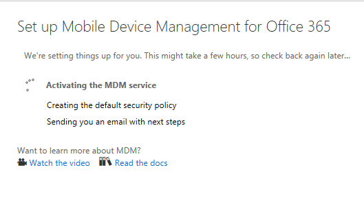 Set up mobile Device management for Office 365 Vembu