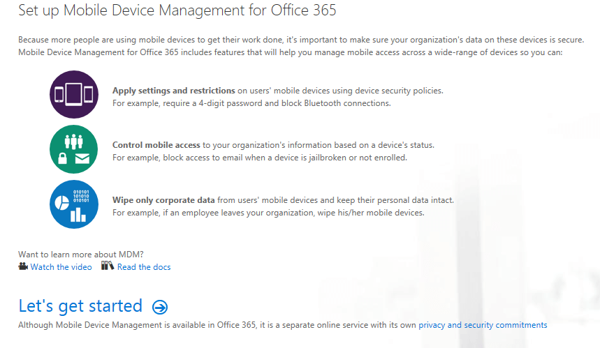 Set up mobile Device management for Office 365