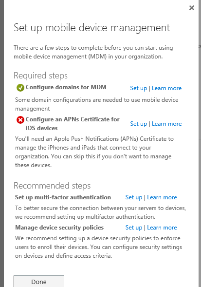 configure APN certificate for iOS device
