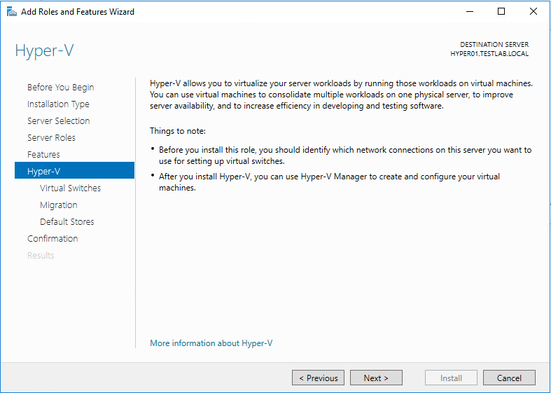 Hyper-V Add Roles and Feature Wizard
