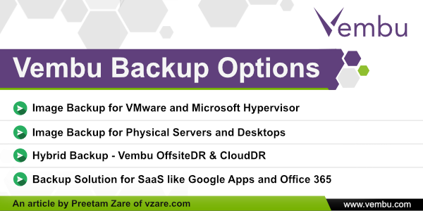 Vembu backup options