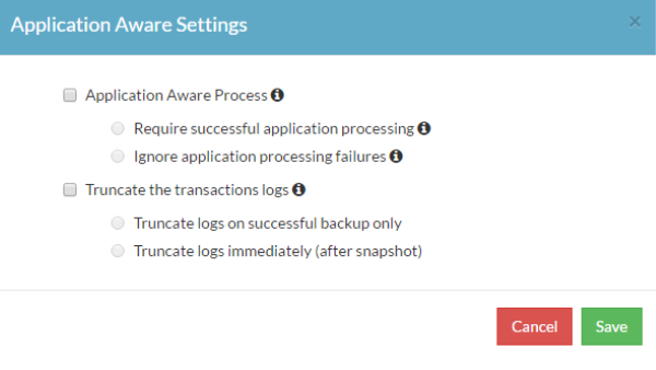 Application aware processing