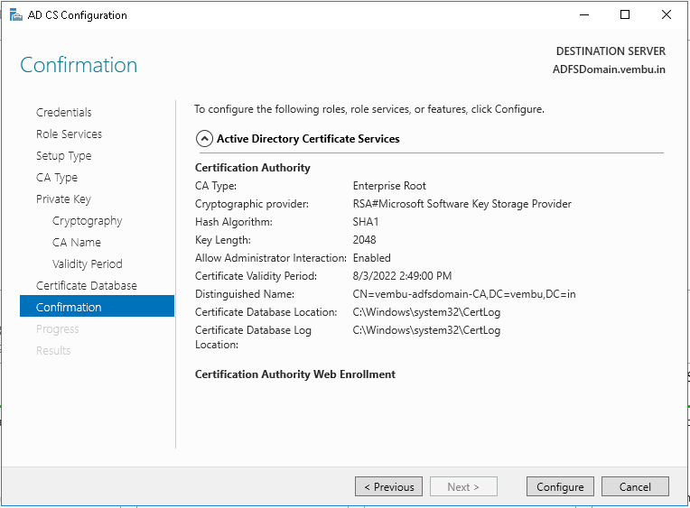 Windows 2016 Active Directory Certificate Services (AD CS) - vembu.com