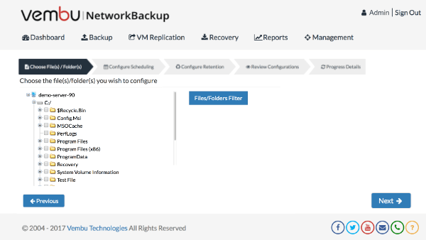 File Backup for Workstations using Vembu NetworkBackup