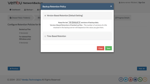 Version Based Retention Policy