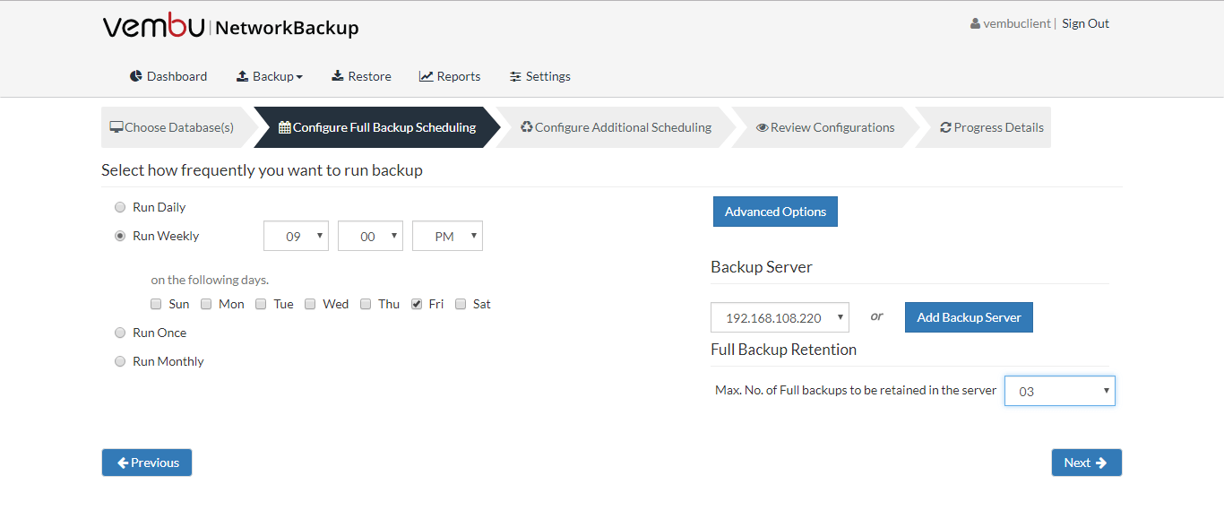 Backup and Restore for MS SQL Server 2016