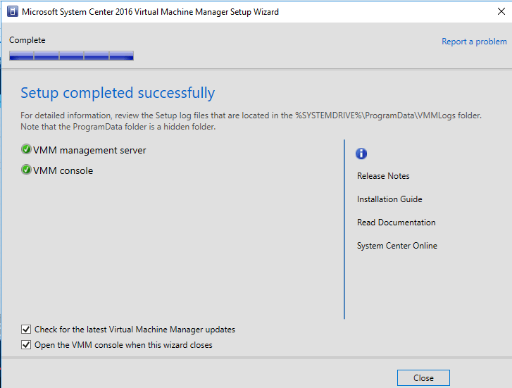 Virtual Machine Manager 2016 installation