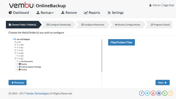 File Backup for Workstations to cloud using Vembu OnlineBackup