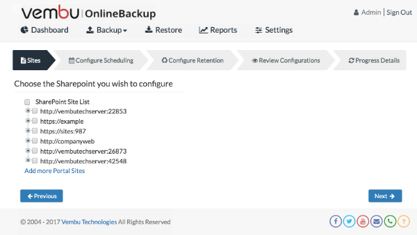 Microsoft SharePoint Backup
