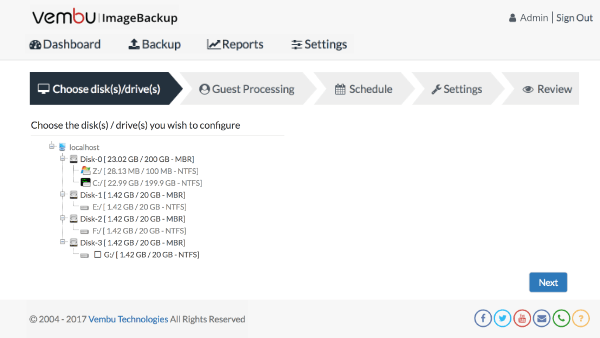 Windows Servers Backup using Vembu ImageBackup