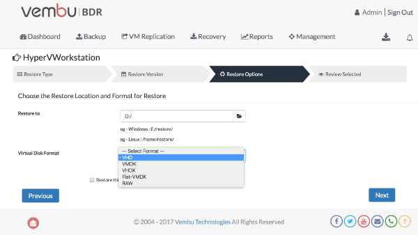 Choose the Restore Location and Format for Restore