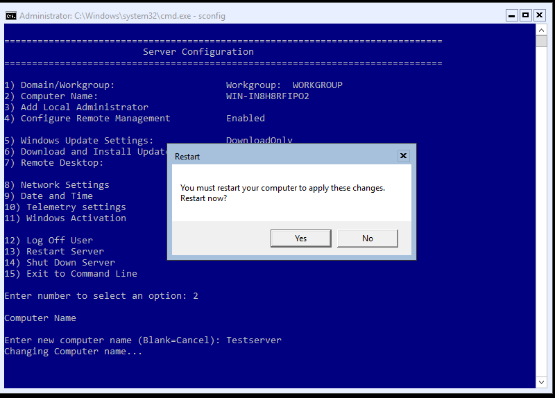 Windows Server 2016 Core Installation & Configuration