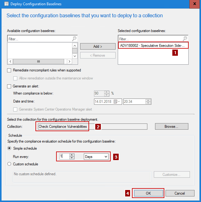 Monitoring Meltdown and Spectre Vulnerabilities using SCCM