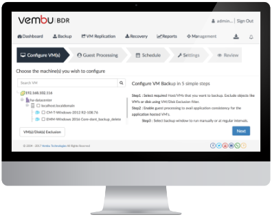 VMware Backup using Vembu VMBackup