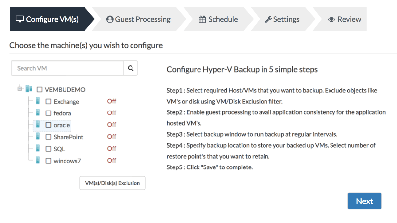 Hyper-V Backup using Vembu VMBackup