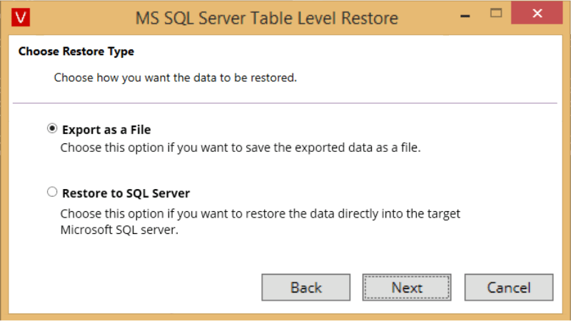 Vembu Explorer for Microsoft SQL Server