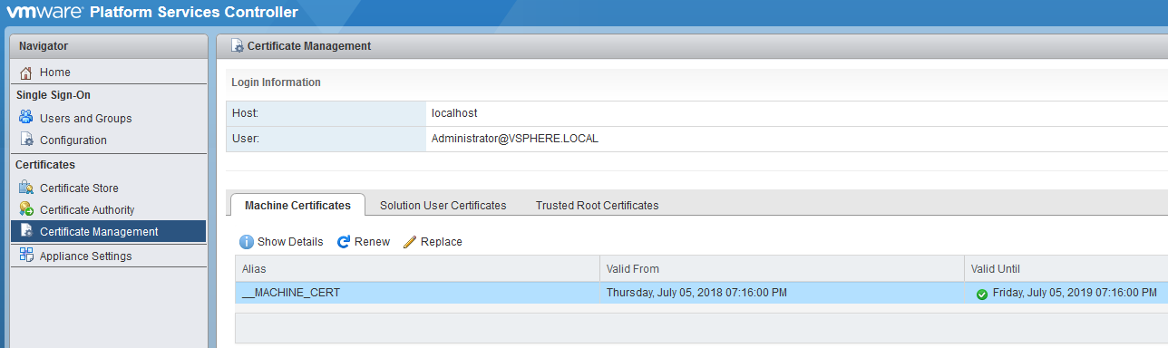 Replacing the vCenter SSL Certificate