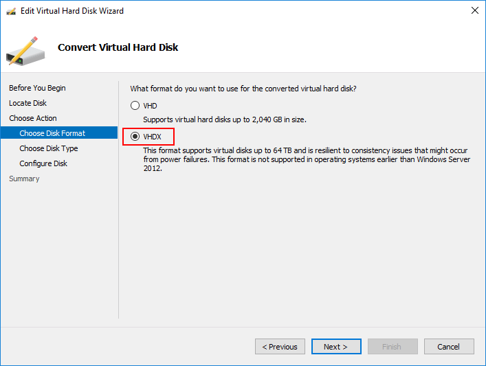 Choose the format of the virtual disk to convert to