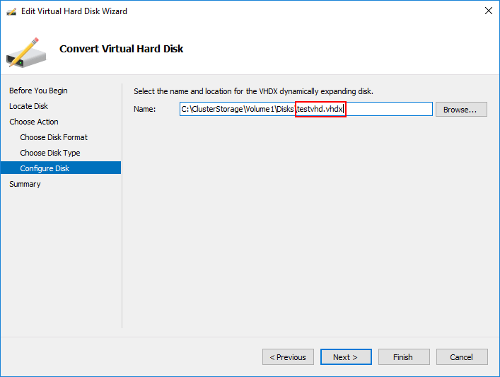 Creating the VHDX file for the conversion process