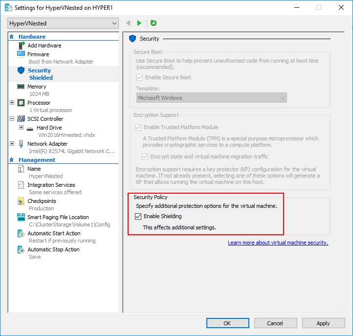 Security Features in Windows Server 2016 Hyper-V Virtual Machine