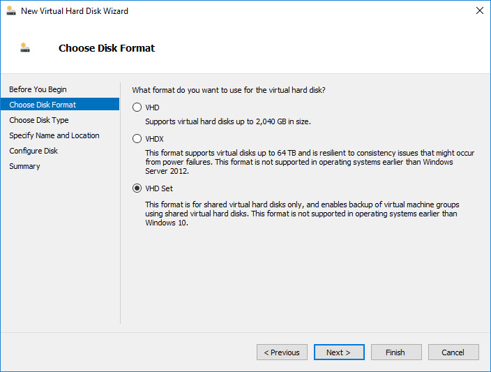 Shared VHDX and VHD Sets in Windows Server 2016 Hyper-V