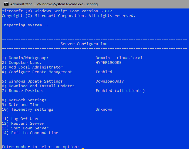 The sconfig.exe utility allows basic configuration management tasks to be performed in Server Core