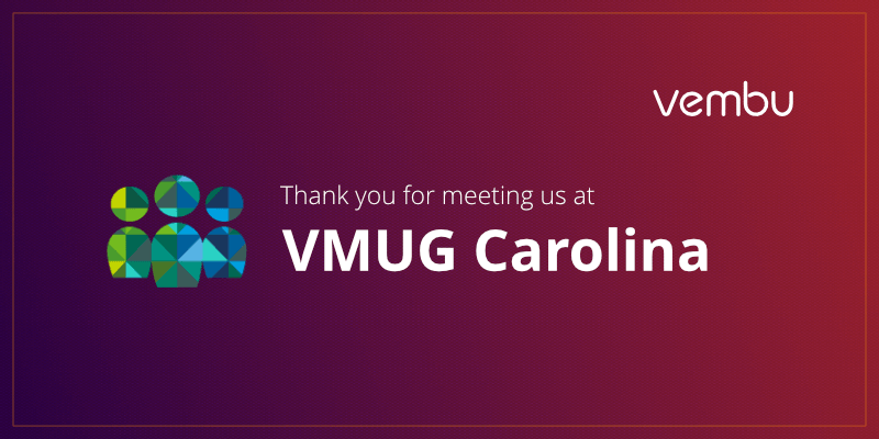 Thank you for meeting us at VMUG Carolina