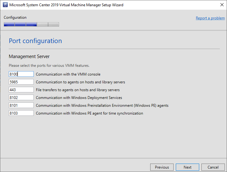 Configure port information for SCVMM connections