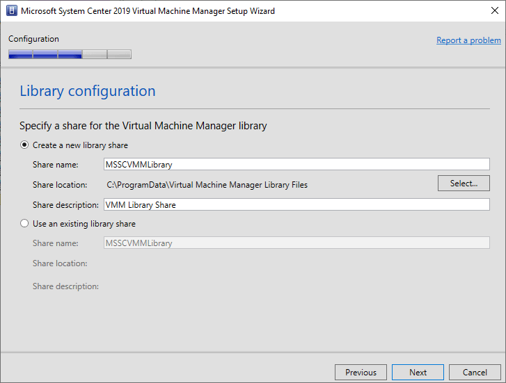 Configuring the SCVMM library share
