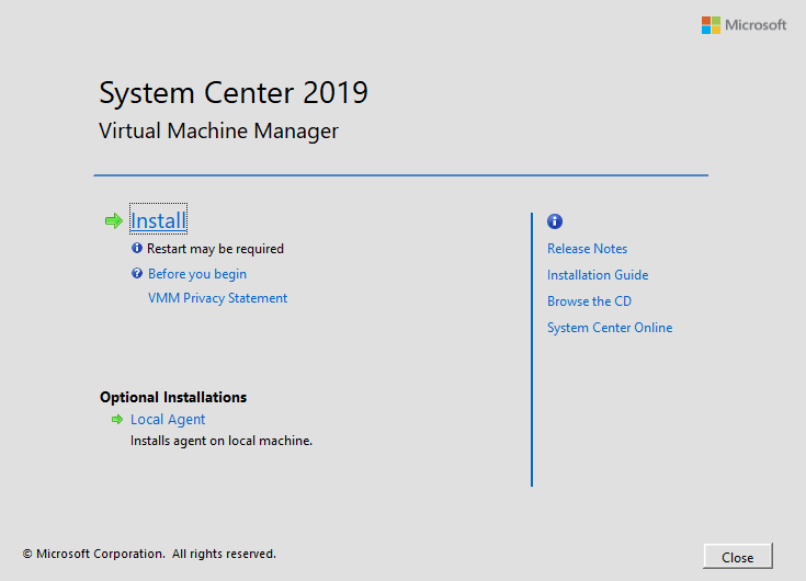 Beginning System Center 2019 Virtual Machine Manager installation
