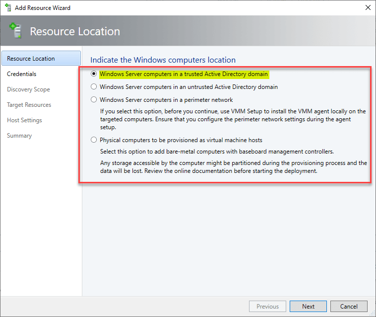 Adding a Hyper-V Cluster to System Center Virtual Machine Manager