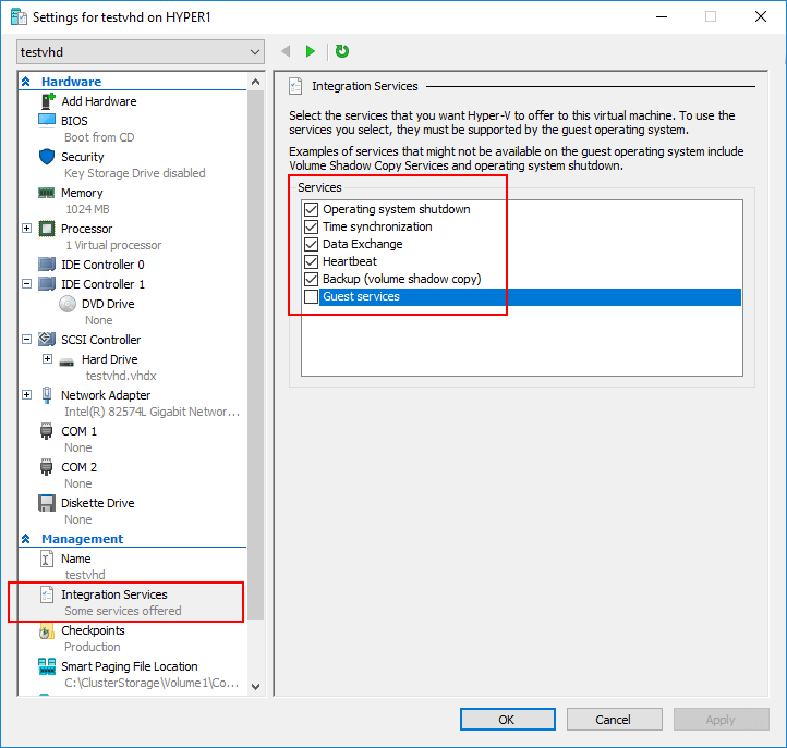 The Hyper-V Integration Services can be controlled by the virtual machine properties
