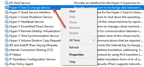 Using Windows Services Console to manage Hyper-V Integration Services