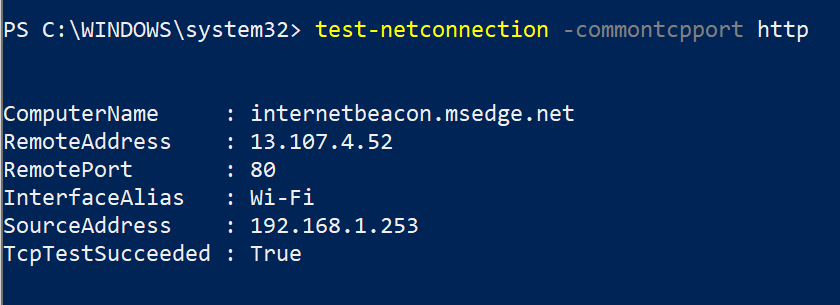 Running the Test-NetConnection PowerShell cmdlet to test HTTP connectivity