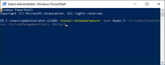 Installing the Hyper-V role on the failover cluster hosts
