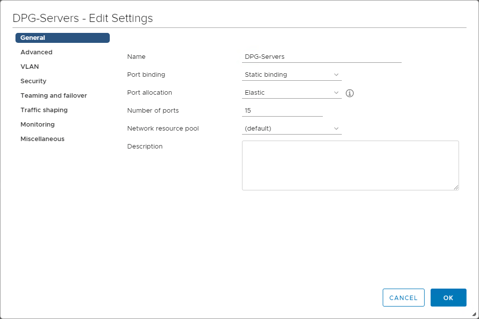 Looking at the properties of a vSphere Distributed Switch Port Group