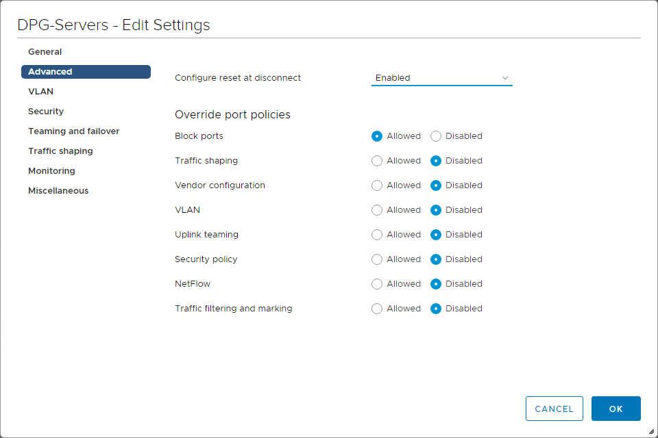 Advanced settings of vSphere Distributed Switch port group