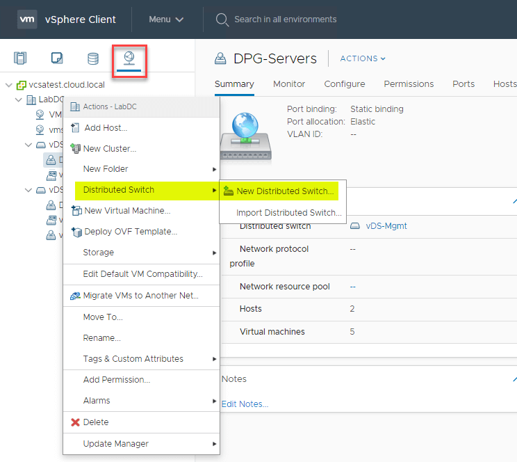 Creating a new vSphere Distributed Switch