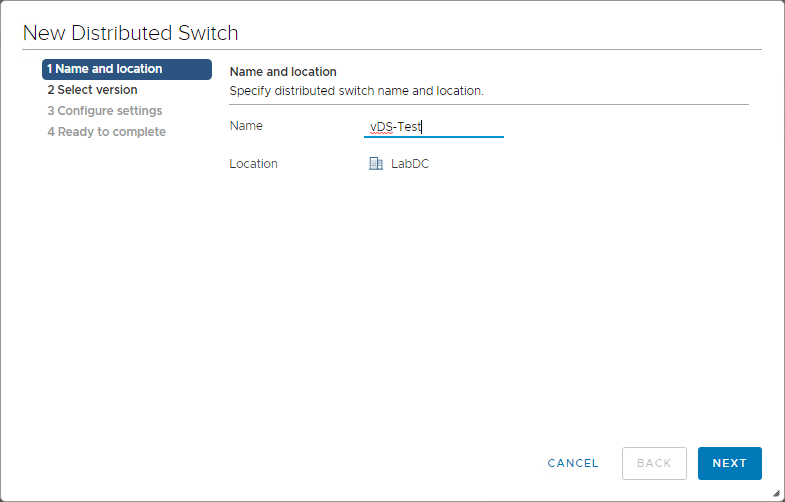 new vSphere Distributed Switch