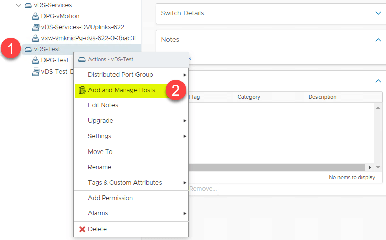 add ESXi hosts to a VDS