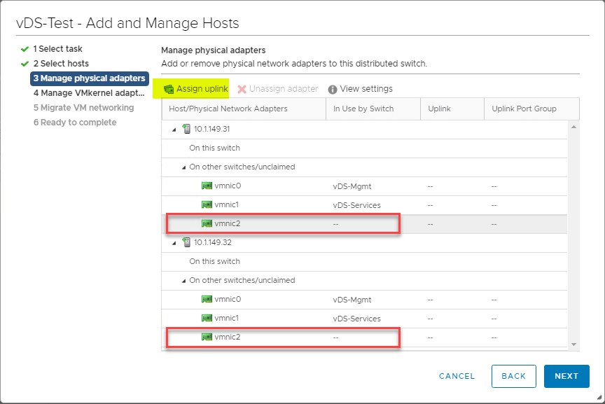 Now, the new ESXi hosts are selected.