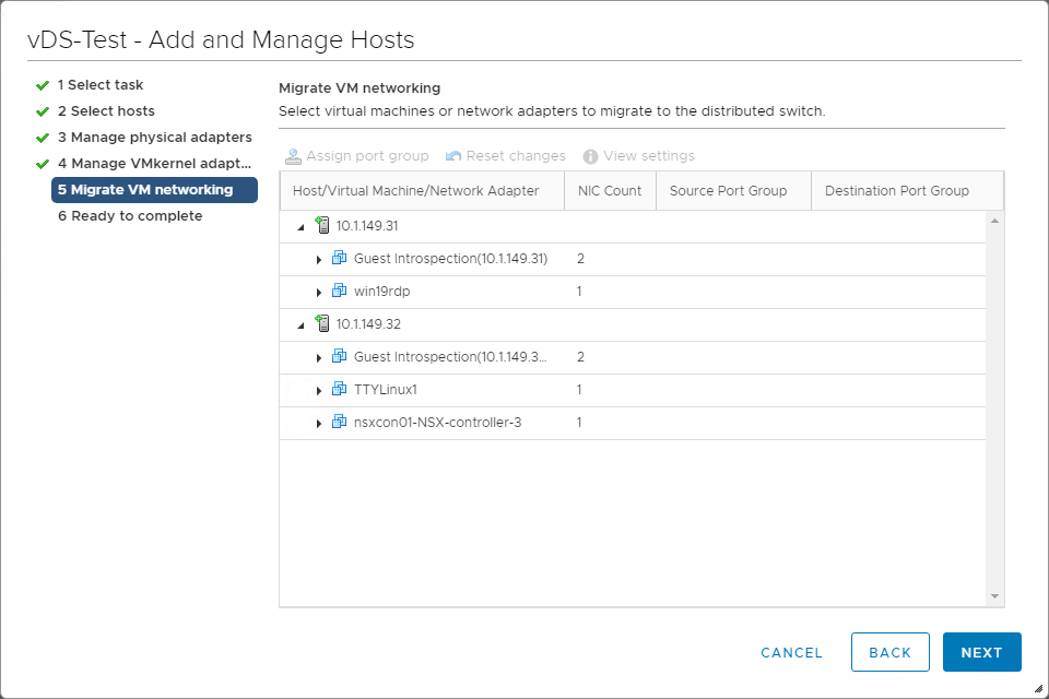 Migrate VM networking