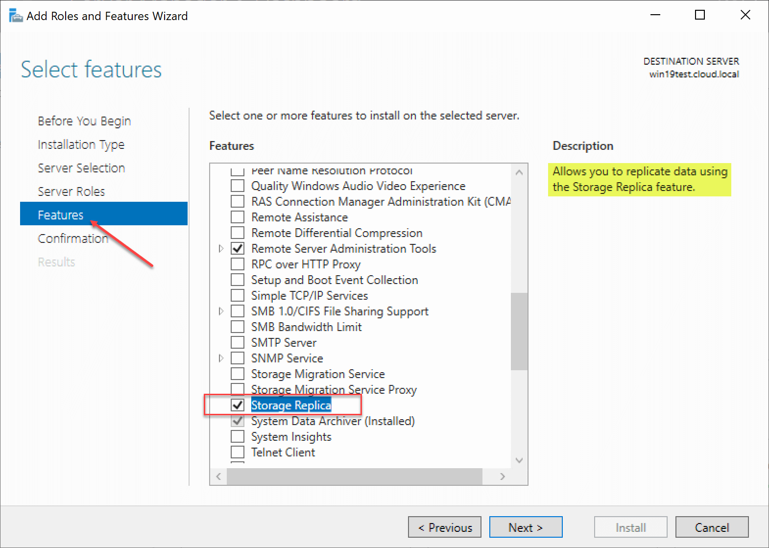 windows server 2019 features