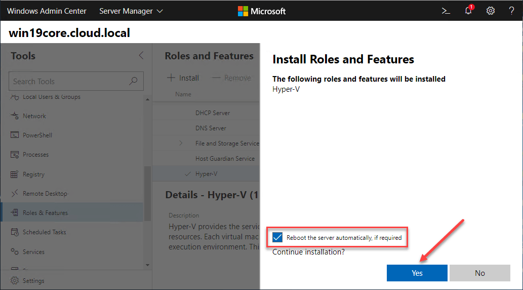 Hyper-V Role installation and reboot using Windows Admin Center