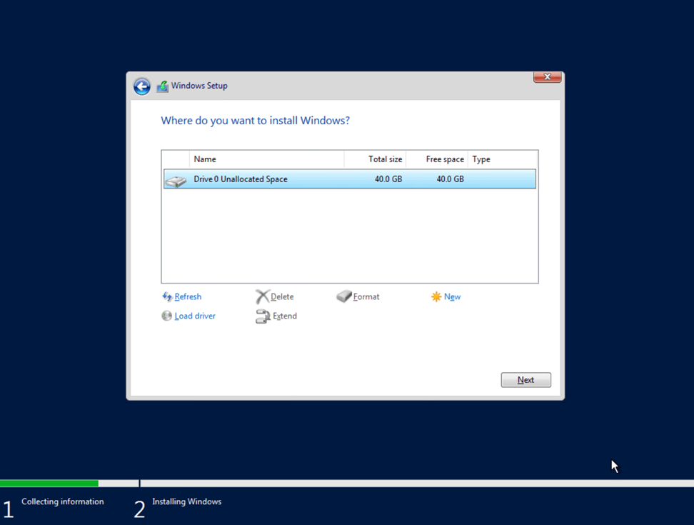 Choose the drive you want to install Windows Server 2019
