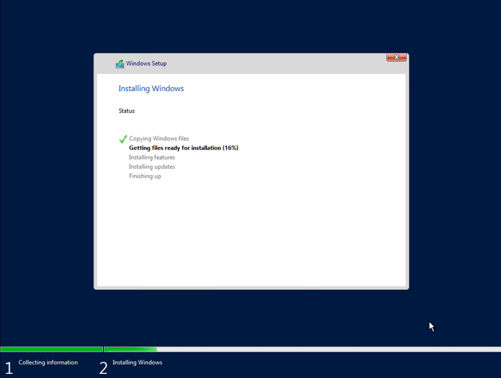 Windows Server 2019 installation process